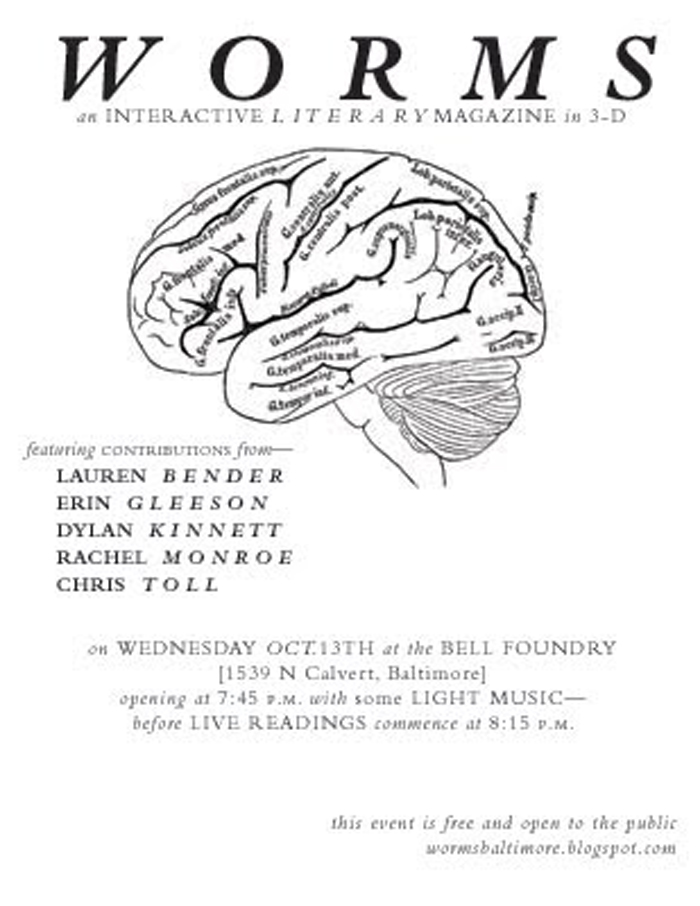 Flyer for the October, 2010 edition of WORMS: An Interactive Literary Magazine in 3-D